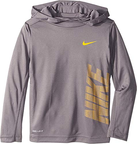 (Nike Kids Boy's Dri-FIT Long Sleeve Pullover Hoodie (Little Kids) Gunsmoke 7)