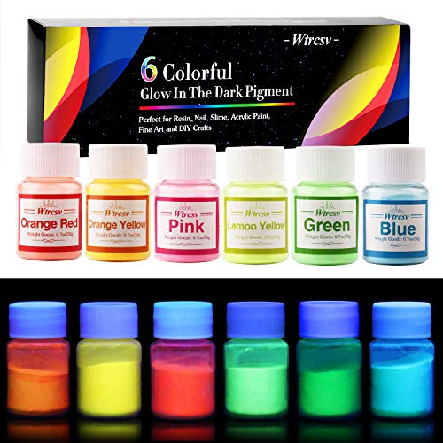 Glow in The Dark Pigment, Wtrcsv 6 Color Luminous Powder Non-Toxic Safety Pigment Powder for Paint, Slime, Nails, Resin, Concerts or DIY - 20g/0.7oz Each(Total 4.2oz)]()