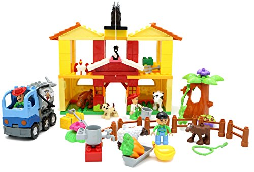 Little Treasures Farm House Building Blocks For Kids With Farm Animals Toys (126 PIECES)