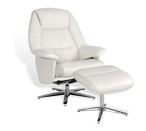 EROS - Sillón de Relax Manual, Muy cómodo, de Piel Blanca ...