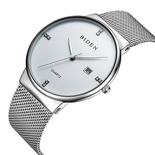 Mens Dress Watches Thin Case Analog Quartz Stainless Steel Waterproof Classic Casual Milanese Mesh Band Wristwatch Slim Dial Luxury Unisex Watch (Mens Silver Dial Luxury Watch)