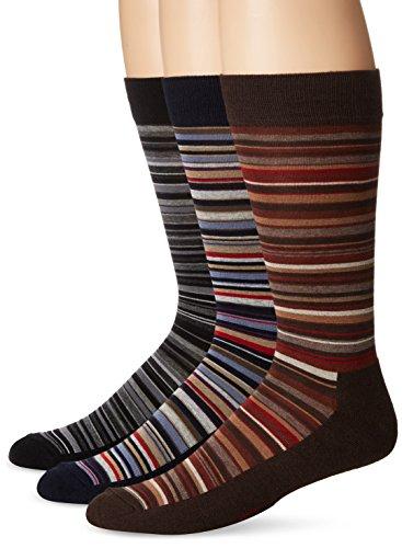 Hue Men Dress - HUE Men's Multi-Stripe Crew Sock (3-Pack), Black/Espresso/Navy, Sock Size 10-12/Shoe Size 6-13