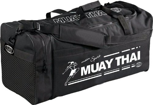 """BAY® XL Sporttasche """"mein Sport"""" Thaiboxen Muay Thai Champ K1 MMA MUAYTHAI K-1, Tasche, Trainingstasche, Thaiboxtasche Bag, schwarz, 70 x 32 x 30 cm Thailand Motiv"""