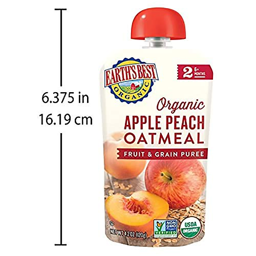 51%2BZPz9a9%2BL - Earth's Best Organic Stage 2 Baby Food, Apple Peach And Oatmeal, 4.2 Oz. Pouch (Pack Of 12)