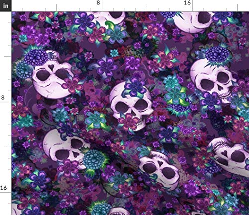 Skull Fabric - Skull Flowers Blue Purple White Bones Boho Skull Skulls Skull Pattern Floral Pattern Flower by Elladorine Printed on Fleece Fabric by The Yard