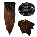 """14''-22'' Double Weft Clip in 100% Remy Human Hair Extensions Grade 7A Quality Full Head Thick Long Soft Silky Straight 8pcs 18clips for Women Fashion (18"""" / 18 inch 140g , #4 Medium Brown)"""