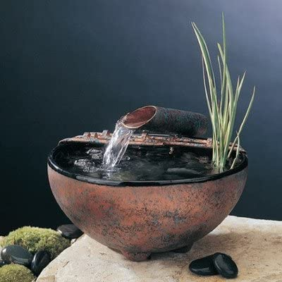Nayer Kazemi Ceramic Nature Bowl Tabletop Fountain Fogger Small Finish Antique Gold Patina Metal Stands No Stand Garden Outdoor