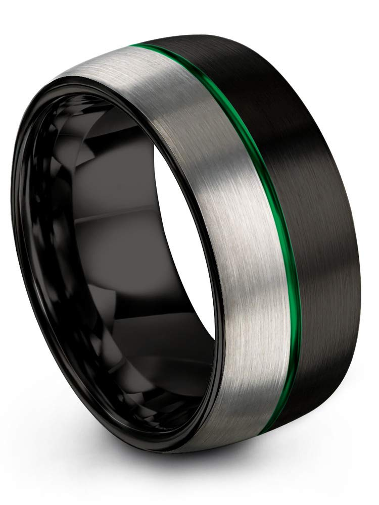 Chroma Color Collection Tungsten Carbide Wedding Band Ring 10mm for Men Women Green Center Line Black Interior with Dome Grey Exterior Half Brushed Polished Comfort Fit Anniversary Size 10.5