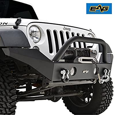 E-Autogrilles Full Width Front Bumper With Fog Lights Hole and Winch Plate for 07-17 Jeep Wrangler JK