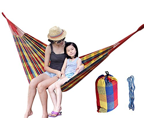 Portable Hammock for Outdoor Courtyard Tree Sack Creation Hiking Camping or Kids Playing in Garden, High-density Cotton Canvas 100 x 39 inches with Straps for Single Person (Plaid)