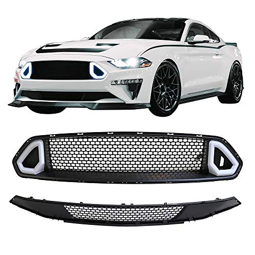 (Grille Fits 2018-2019 Ford Mustang | Front Upper Lower LED Mesh Grill ABS by IKON MOTORSPORTS )