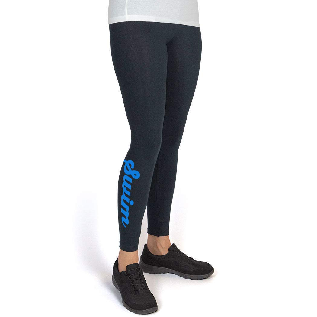 Youth To Adult Sizes Swim Script Leggings Multiple Colors Swimming Leggings by ChalkTalk SPORTS