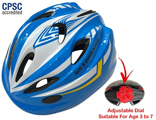 Kids Bike Helmet For Bicycle Cycling, Skateboard, Scooter – Adjustable Harness From Age 3 To 7 For Head Size 19.6-22 inch – Durable Toddler Kid Bicycle Helmets Boys and Girls Will Love (White Blue) Review