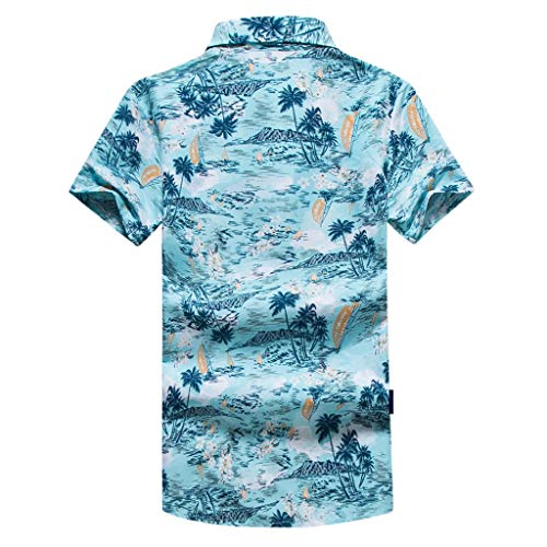 NUWFOR Men Hawaiian Print Short T-Shirt Sports Beach Quick Dry Blouse Top Blouse(Blue,XL US Chest:45.3'' by NUWFOR (Image #1)