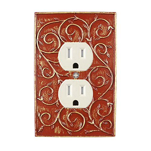 - Meriville French Scroll Electrical Outlet Wall Plate Cover, Hand Painted Single Duplex receptacle outlet cover, Parisian Red with Gold