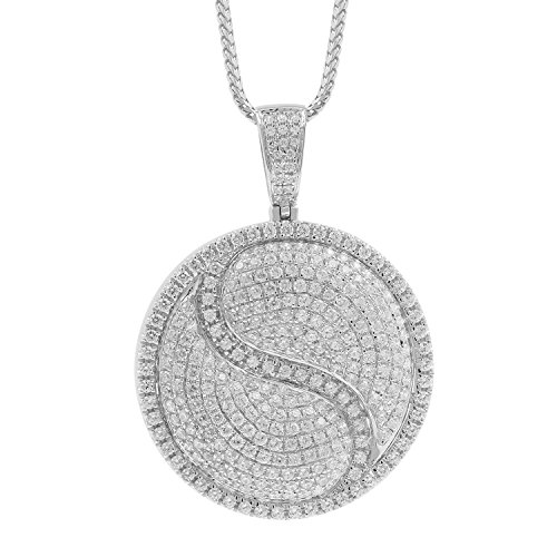 7.60 Carat 10kt White Gold Diamond Round Medallion Ying Yang Style Mens Hip Hop Pendant by Isha Luxe