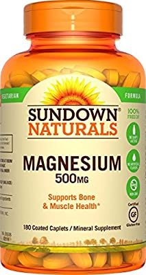 Sundown Naturals Magnesium 500 Mg Caplets Value Size, 180 Count