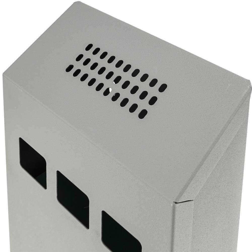 PrimeMatik Cenicero de Pared para Exterior de Metal Gris 147 x 60 x 324 mm