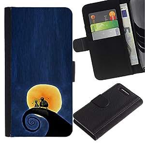 For Sony Xperia Z1 Compact D5503 Case , Surfing Surf Wave Moon Blue Night - la tarjeta de Crédito Slots PU Funda de cuero Monedero caso cubierta de piel