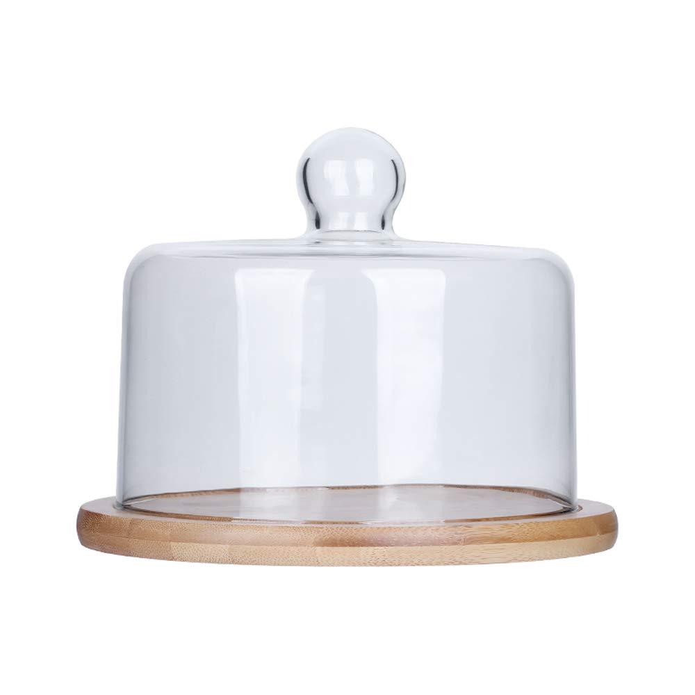 ガラスドーム付きケーキスタンド 円形デザートカップケーキ台座 ディスプレイプレート ケーキカバー S Small  B07MTGGYR2