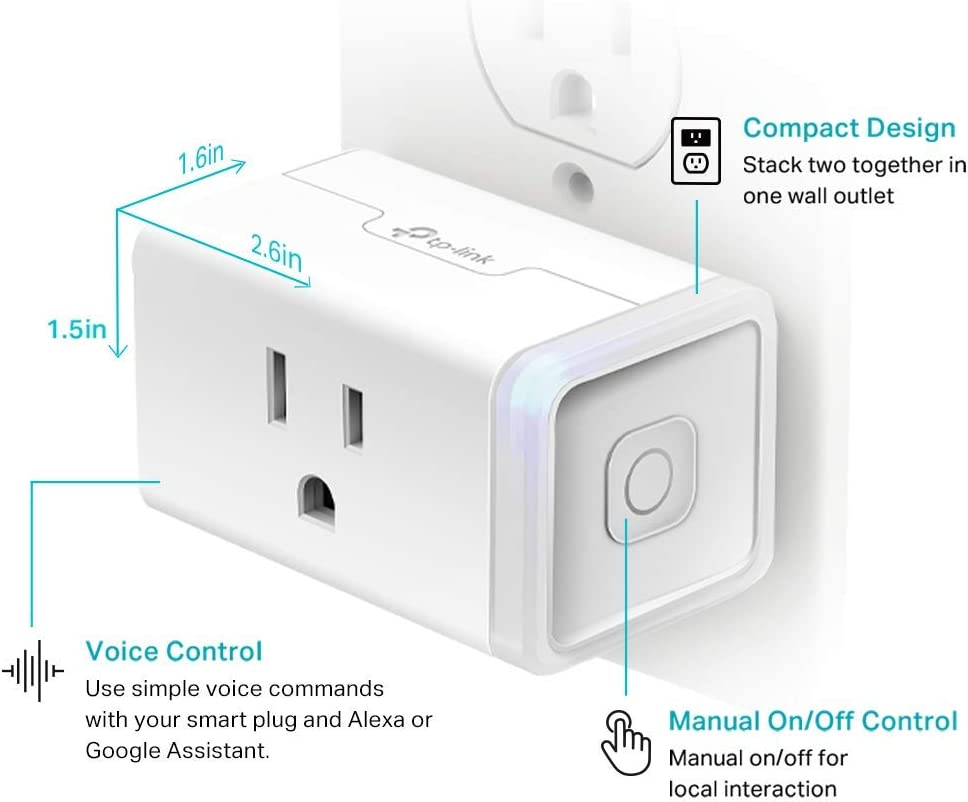 Kasa Smart Plug, WiFi Outlet works with Alexa, Echo and Google Home, No Hub Required, Remote Control, 12 Amp, UL Certified, 2-Pack (HS103P2) - -