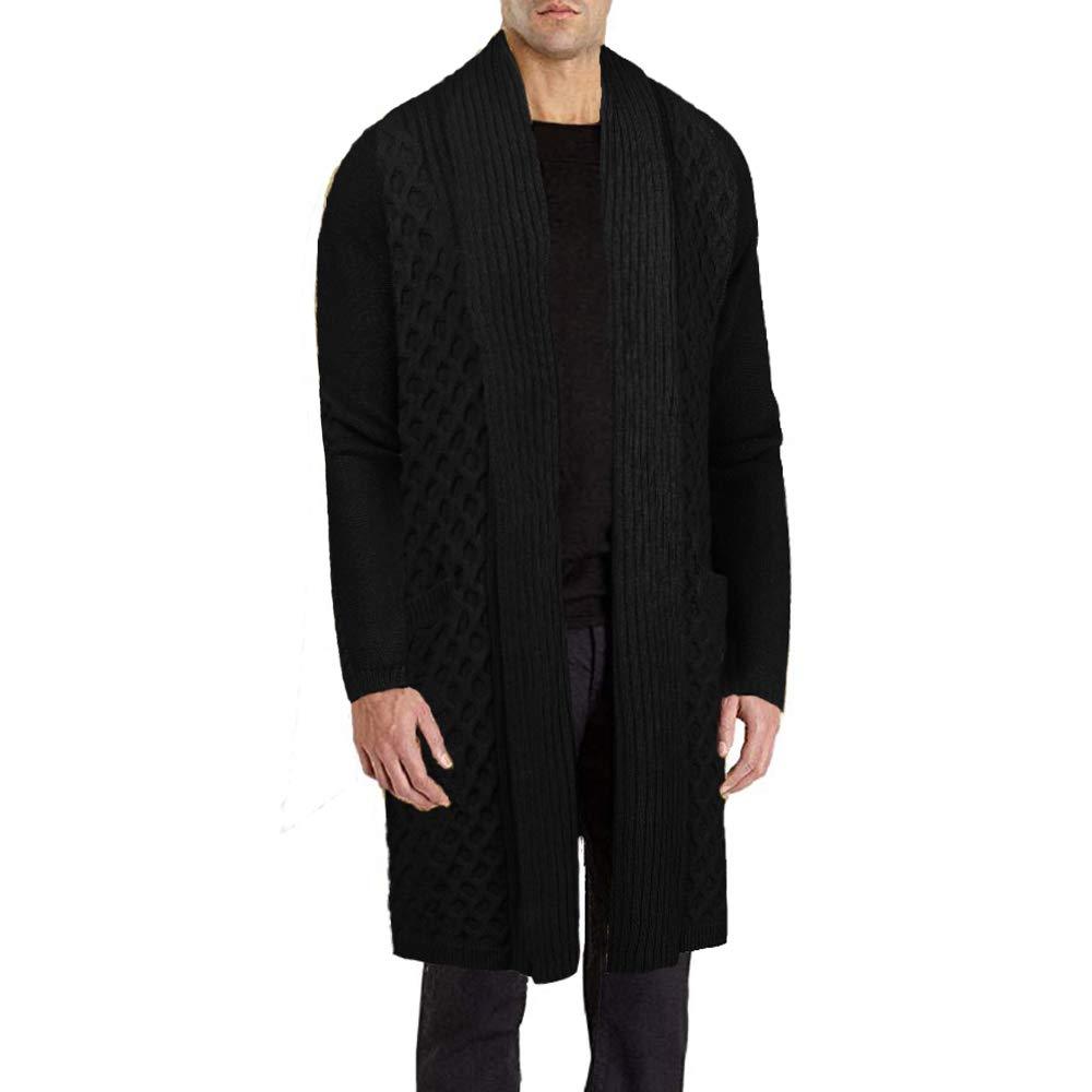 JINIDU Men's Long Cotton Cardigan Sweater Open Front Shawl Collar Knitwear Black by JINIDU