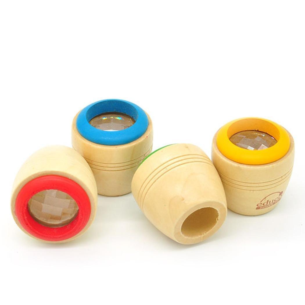 Omiky/® Rotierende H/ölzerne Kaleidoskop Rotation Fancy Kinder Autismus Reliever Spielzeug