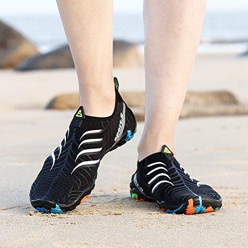 Damen weiß Herren Schwimm Wasserschuhe Streif Surf Barfuß Aquaschuhe Badeschuhe Putu Sommer Strand Schnelltrocknend Schuhe qWXnwaOT
