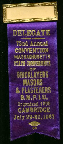 Massachusetts Bricklayers Convention Delegate pin 1967 ()