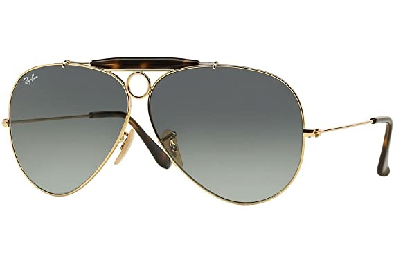 e27bd28790 Image Unavailable. Image not available for. Color  Ray Ban RB3138 181 71 62  Gold Gray Gradient Shooter Sunglasses ...