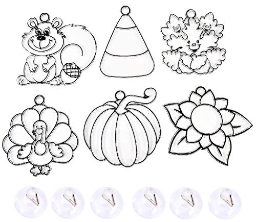 Candy Corn Turkey (Fall Autumn Suncatchers and Clear Suction Cups for Hanging - 4 1/2-Inch - Set of SIX (6) - Ready to Decorate - Includes Pumpkin, Candy Corn, Turkey, Leaves & More!)