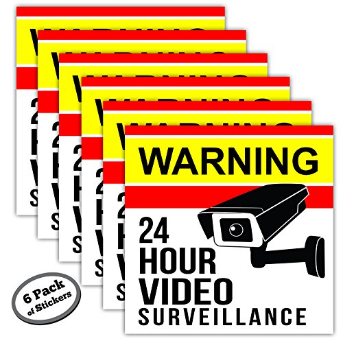 6 Pack Video Surveillance Stickers Adhesive product image