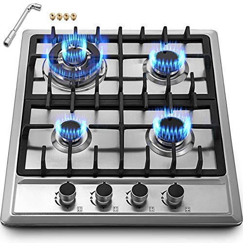 Happybuy 23x20 inches Built in Gas Cooktop 4 Burners Gas Stove Cooktop Stainless Steel Cooktop Gas Hob With Liquid Propane Conversion Kit Thermocouple Protection and Easy to Clean (4burner Propane Stove)