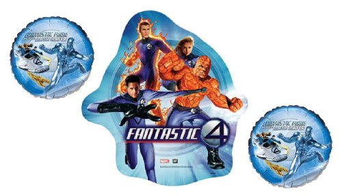 Marvel Fantastic Four & Silver Surfer Foil Balloon Bouquet - SuperHero Mylar Party Balloon Bundle -