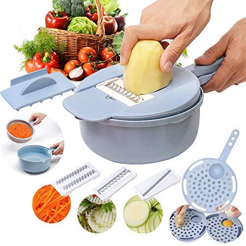 Luzoeo Vegetable Slicher Food Chopper Vegetable Mandoline Slicer Multifunctional Food Chopper Slicer Dicer 9 in 1 Mini Vegetable Cutter Julienne Grater Egg Separator Professional Manual Tools