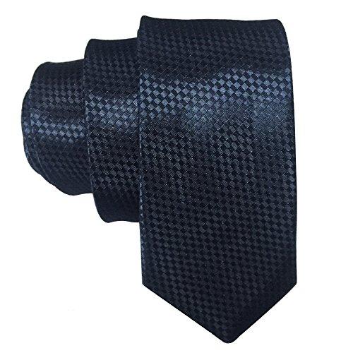 Skinny 2' Necktie Tie (AINOW Mens Fashion 2'' Skinny Plaid Necktie Ties Various Colors (Navy))