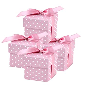10c51560e33fc 50 Pack Cute Pink Polka Dot 2 quot  Square Favor Gift Boxes with Lid for  Christening