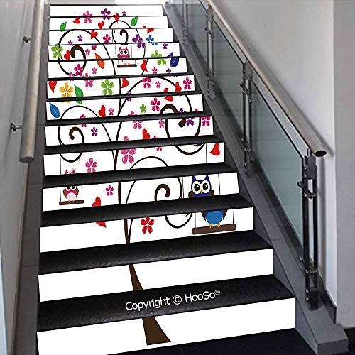 PUTIEN Self-Adhesive Stair Risers Stickers Vinyl Staircase Stickers Stairway Decal Wallpaper, Waterproof, Anti-Stain,Globe of Earth Painted in Watercolors Cartography Geography,39.3