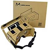 Google Cardboard Kit DIY 3D Glasses by MINKANAK Bigger Lens Virtual Reality Video Viewer Compatible with Android and Appple with Head Strap, NFC, Nose Pad, Forehead Pad, and Easy Instruction