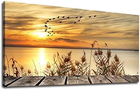 yearainn Canvas Wall Art Sunset Lake Dock Fall Nature Picture 24″ x 48″ Old Wooden Bridge Reeds Birds Flying Shore Dusk Landscape Canvas Artwork