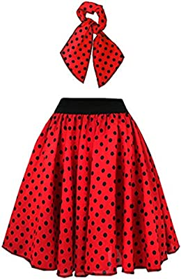 I LOVE FANCY DRESS LTD Falda Longa ROJA con Puntos Negros Lunares ...