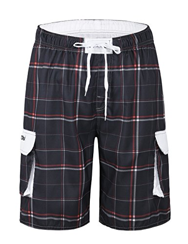 Nonwe Men's Board Shorts Quick Dry Plaid Drawsting with Lining Gray 32