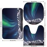3 Piece Bathroom Mat Set,Sky Decor,Northern Lights Aurora over Fjords Mountain at Night Norway Solar Image Art,Green Dark Blue,Bath Mat,Bathroom Carpet Rug,Non-Slip