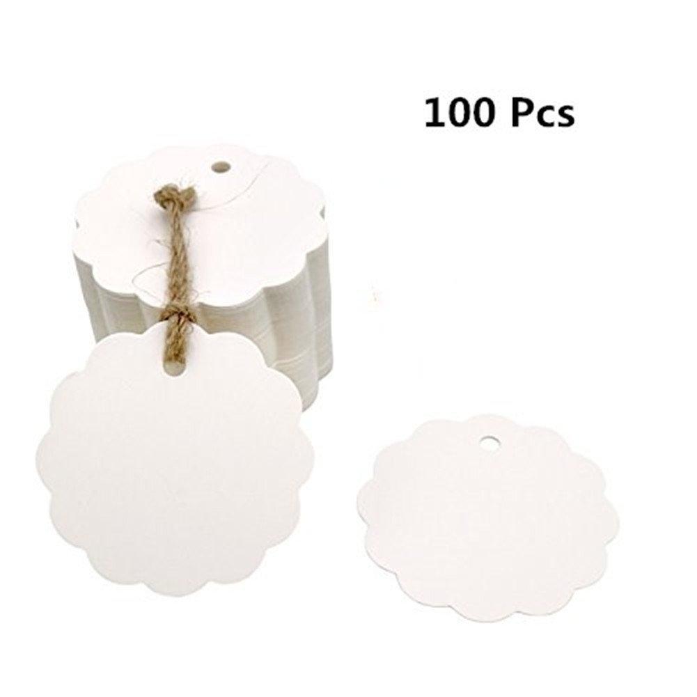 Vikenner 100pz a forma di fiore cerchio carta kraft cartellini regalo prezzo Cards favor etichetta per matrimoni, Natale, party supplies–no corda di canapa–bianco