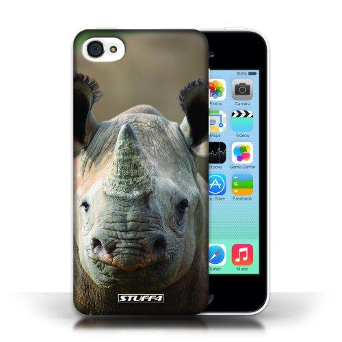 iCHOOSE Print Motif Coque de protection Case / Plastique manchon de telephone Coque pour Apple iPhone 5C / Collection Animaux Sauvages / Rhinocéros