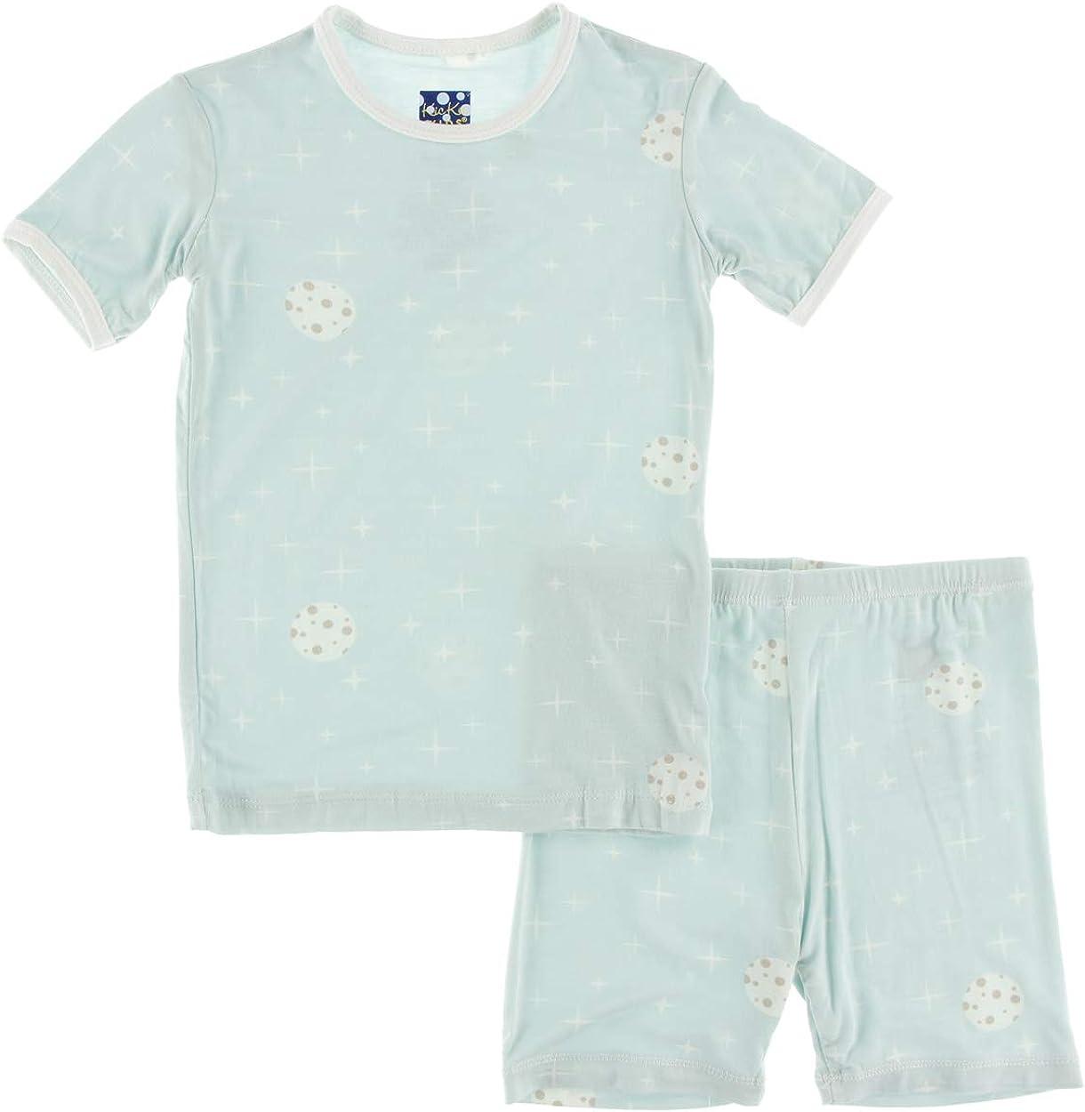 KicKee Pants Print Short Sleeve Pajama Set with Shorts in Desert Rose Indian Train