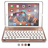 iPad Air 2, iPad Pro 9.7 keyboard case, COOPER NOTEKEE F8S Backlit LED Bluetooth Wireless Rechargeable Keyboard Macbook Clamshell Clamcase Cover 7 Backlight Colors - Rose Gold / NOT FOR IPAD 9.7 2017