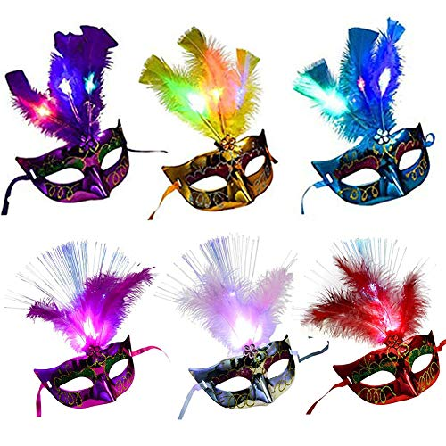 6 Packs Venetian Venice LED Fiber Feather Mask,