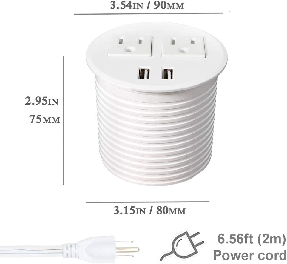 Power Grommet with USB for Desk Desktop Power Data Outlet with 2 AC Outlets and 2 USB Ports 6ft Heavy Duty Power Cord White