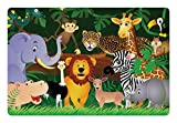 Ambesonne Zoo Pet Mat for Food and Water, Animals in the Jungle Funny Expressions Exotic Comic Cheer Natural Habitat Illustration, Rectangle Non-Slip Rubber Mat for Dogs and Cats, Multicolor